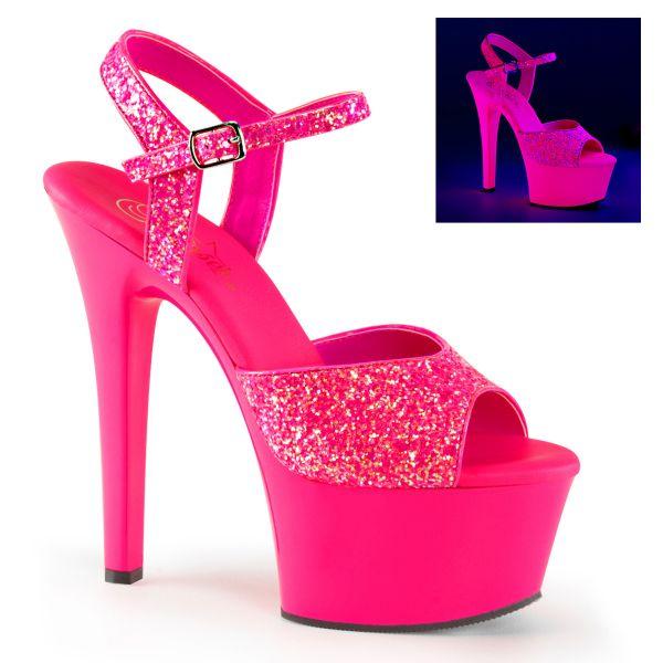 Glitter Riemchen Sandalette neon hot pink mit Plateau ASPIRE-609G